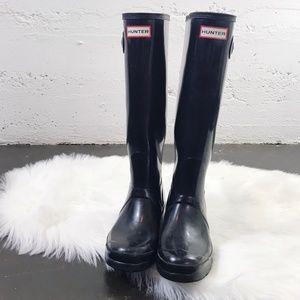 Hunter Boots Black Original Tall Gloss Wellington